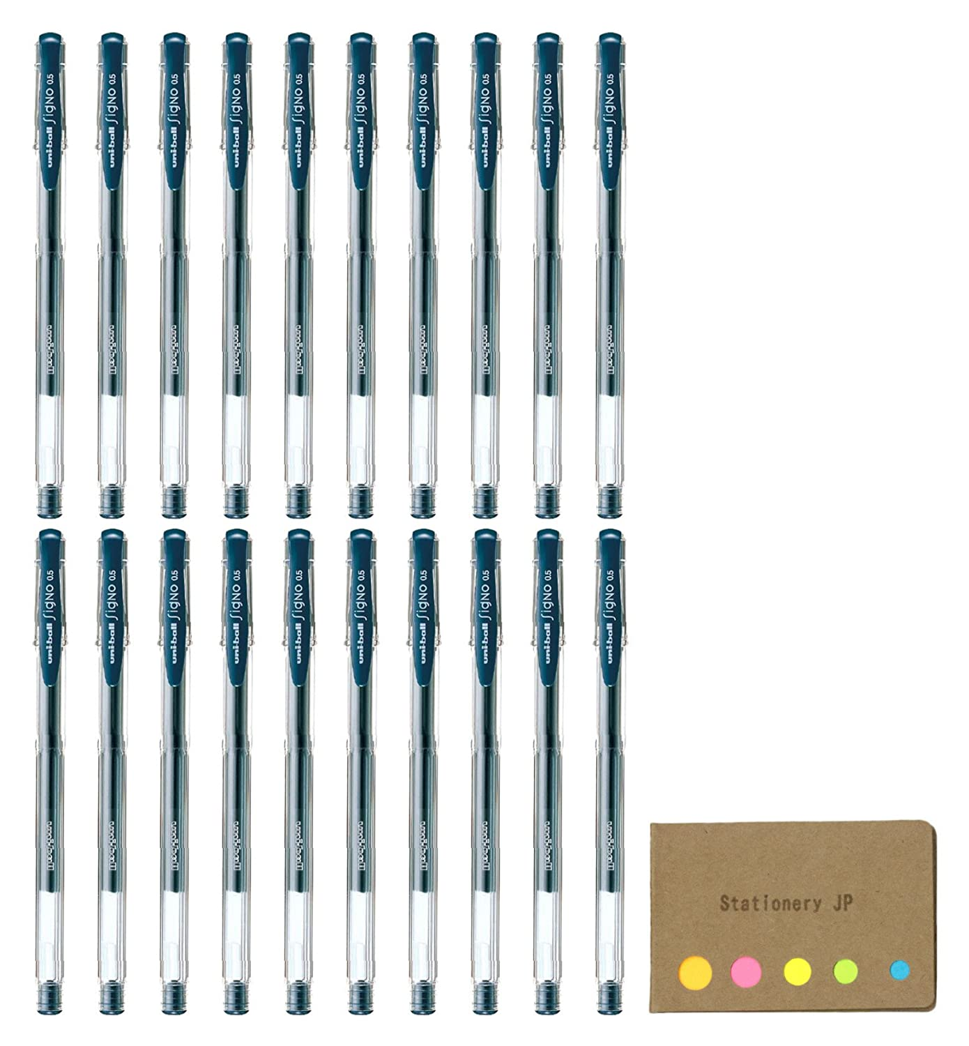 UNI - BALL SIGNO Capped Gelインクペンum-100 Extra Fine Point 0.5 MM,ブルーブラックインク、20-pack、付箋値設定 B07D53QH6S