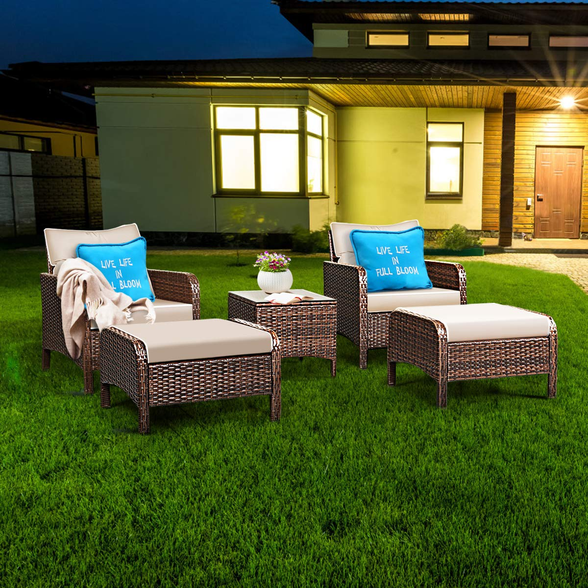 Tangkula Wicker Furniture Set 5 Pieces PE Wicker Rattan Outdoor All Weather Cushioned Sofas and Ottoman Set Lawn Pool Balcony Conversation Set Chat Set by Tangkula (Image #4)