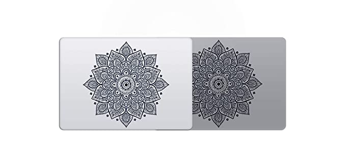 Laptop Stickers MacBook Decal - Removable Vinyl w/Glowing Apple Logo Diecut - Mandala Decal Black Stickers Skin for Apple MacBook Air Pro 13 15 inch Mac Retina - Best Decorative Sticker by Artsybb best laptop stickers for professionals