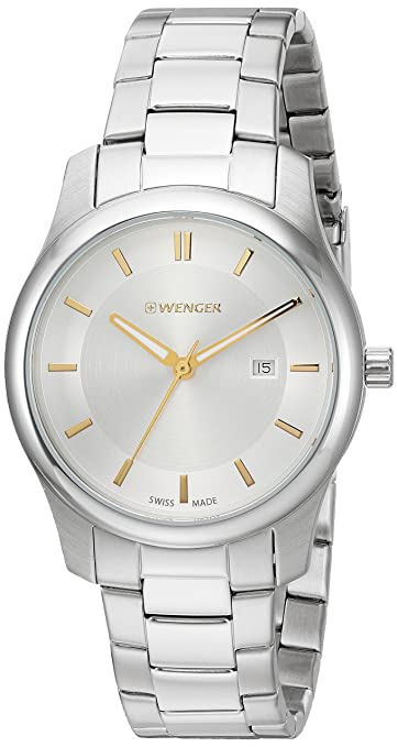 Amazon.com: Wenger Mens City Classic Swiss Quartz Stainless Steel Casual Watch, Color:Silver-Toned (Model: 01.1421.104): Watches