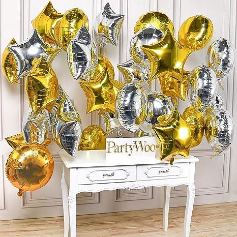 PartyWoo Globos Estrella, 32 Piezas Globos Estrella Plata Globos ...