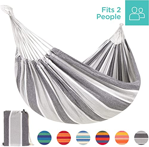 Best Choice Products 2-Person Indoor Outdoor Brazilian-Style Cotton Double Hammock Bed w Portable Carrying Bag Steel