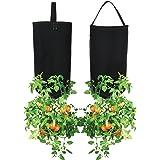 Pri Gardens Upside Down Tomato Planter, (2- Pack) | Hooks Included