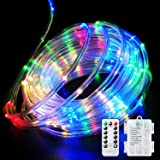 Fitybow LED Rope Lights Battery Operated String Lights 40FT 120 LEDs 8 Modes Fairy Lights with Remote Timer Outdoor Decoratio