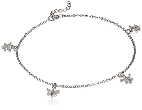 Sterling Silver CZ Butterfly Anklet YFDP9mn