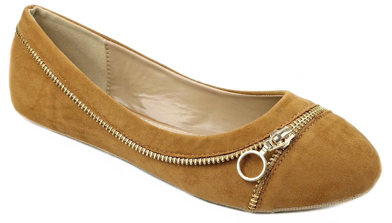 Larisa15 Golden Zipper Decor Loafer Ballet Flat Dress Shoes B00ZE9611O 7.5 B(M) US|Tan Suede