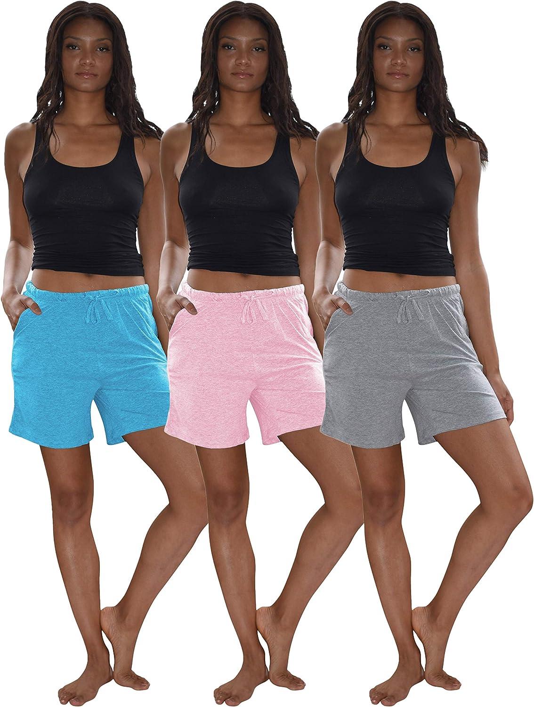 Sexy Basics Women's 3 Pack Cotton Sleep Pajama Shorts with Pockets & Drawstring