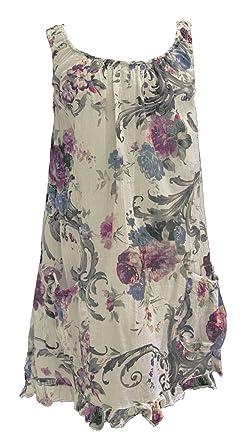 a236a710cd TEXTURE Ladies Womens Italian Lagenlook Sleeveless 2 Pocket SWIRL Floral  Print Cotton Tunic Dress One Size Plus UK 14-18 (Beige