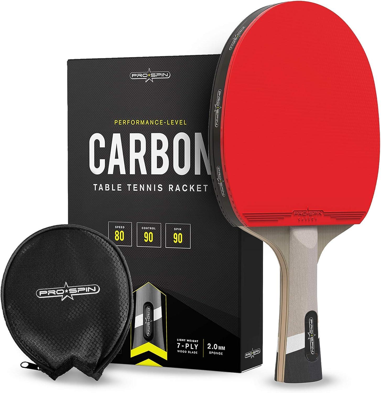 PRO SPIN Ping Pong Paddle con fibra de carbono | Hoja de 7 capas, goma ofensiva, esponja de 2 mm, funda protectora de goma premium | Mejora tu juego con la raqueta de tenis de mesa de carbono Elite Se