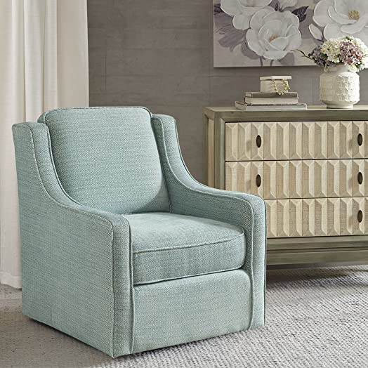 Madison Park Harris Swivel Chair – Solid Wood, Plywood, Metal Base Accent Armchair Modern Classic Style Family Room Sofa Furniture, 28.5 Wide, Dusty Aqua