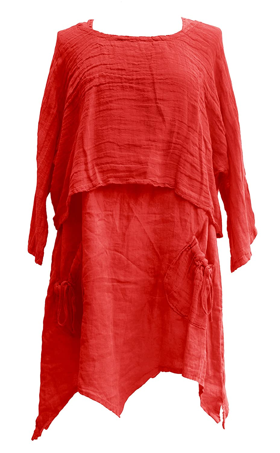 Ladies Womens Italian Lagenlook Quirky Linen Shrug Tunic Twin Set Dress One Size