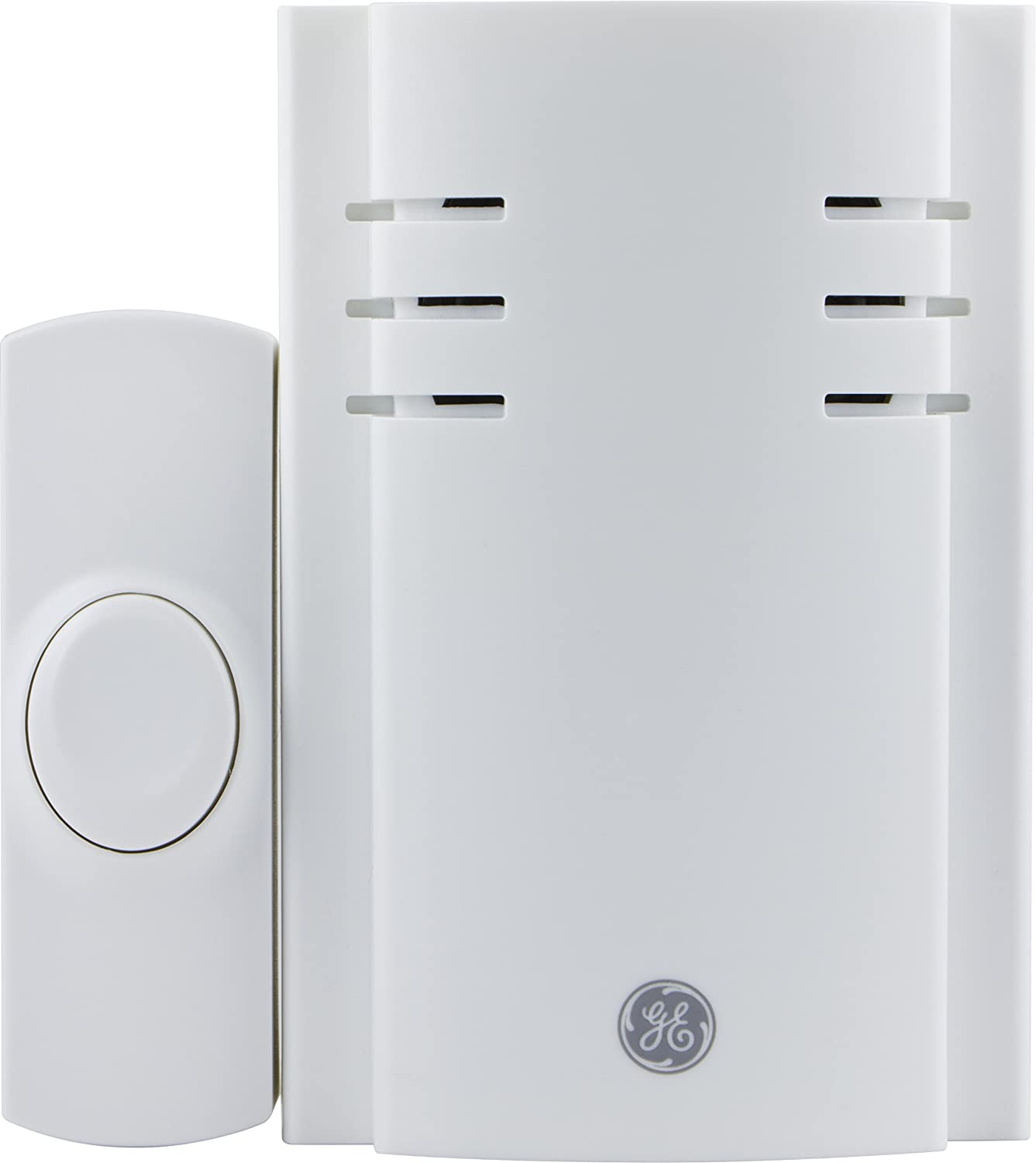 GE Wireless Plug-In Door Chime with One Push Button (2 Pack), 19298
