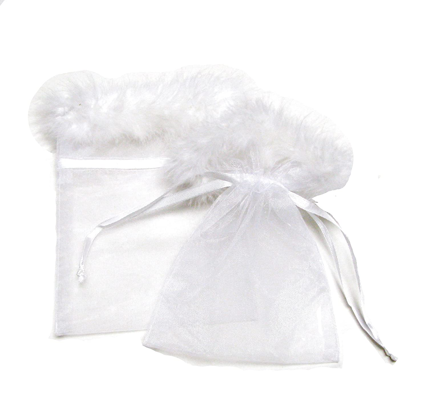 Amazon.com: Linpeng 041221-Organza Drawstring Feather Pouches Party ...