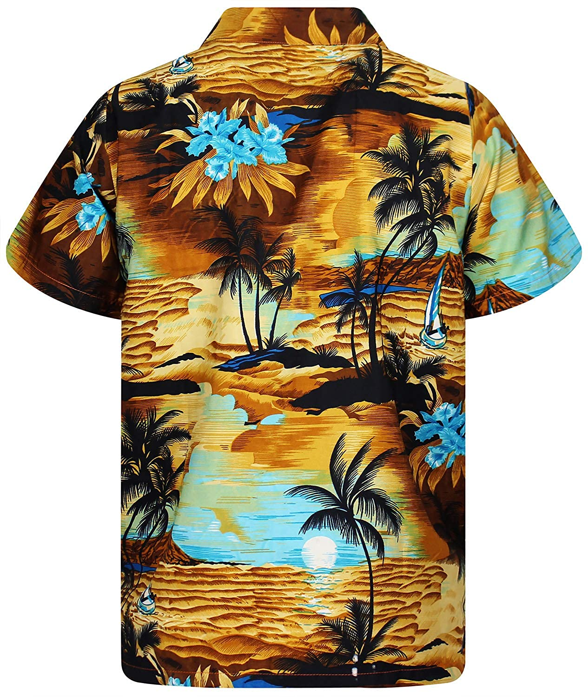 difernetes Colores New Surf Manga Corta Bolsillo Delantero Impresi/ón de Hawaii Original King Kameha Funky Camisa Hawaiana Se/ñores XS-12XL