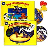 Tastenzauberei Set : Klavierschule mit Sing- und Spielheft Band 1 - für den Einzel- und Gruppenunterricht , Autor Anike Drabon - mit 2 CDs, 2 Notenklammern und lustige Smiley-Sticker