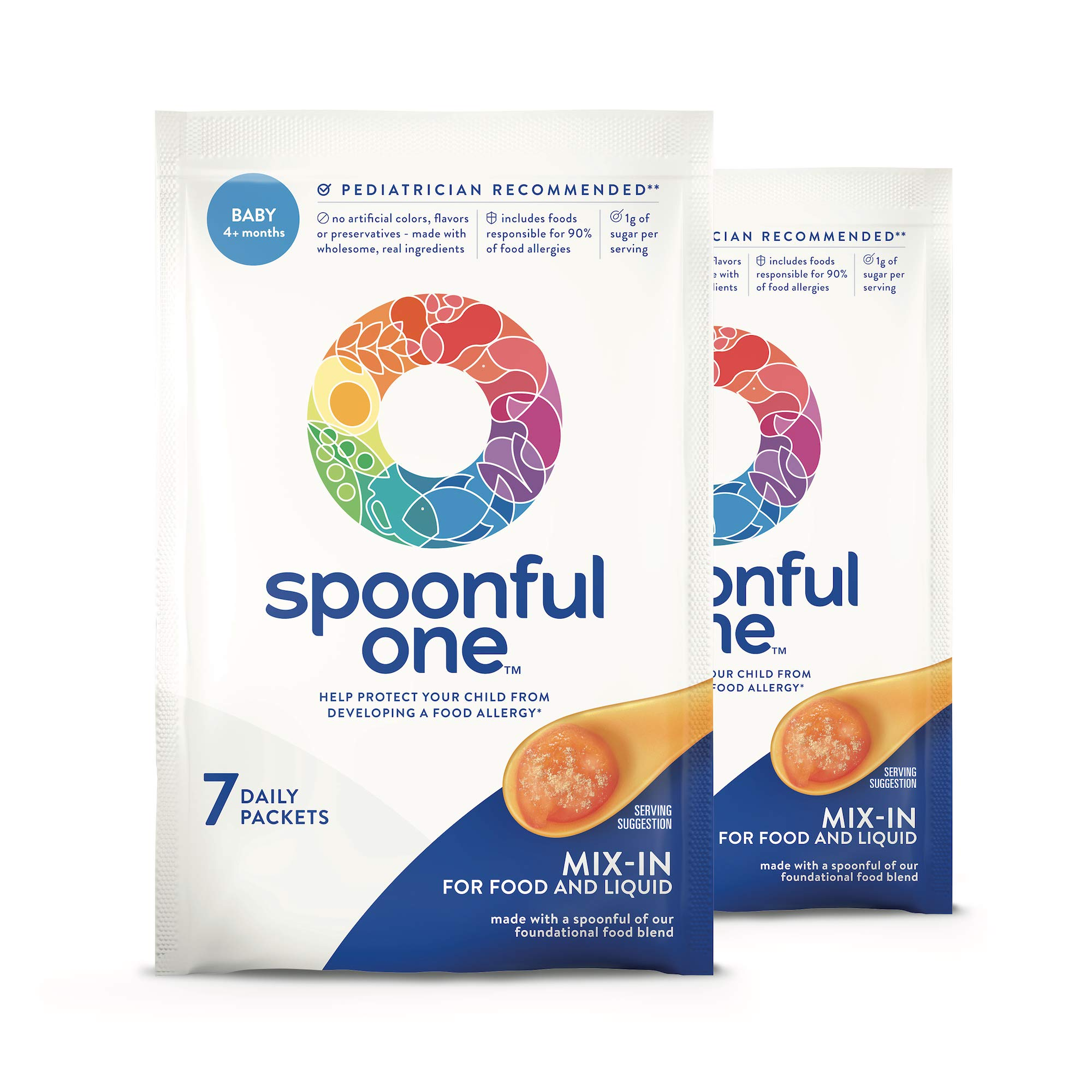 SpoonfulOne Once-Daily Mix-Ins: A Simple and Safe Approach to Help Protect Babies from Developing a Food Allergy. 14-Count Supply of Baby Food add-in for Age 4+ Months