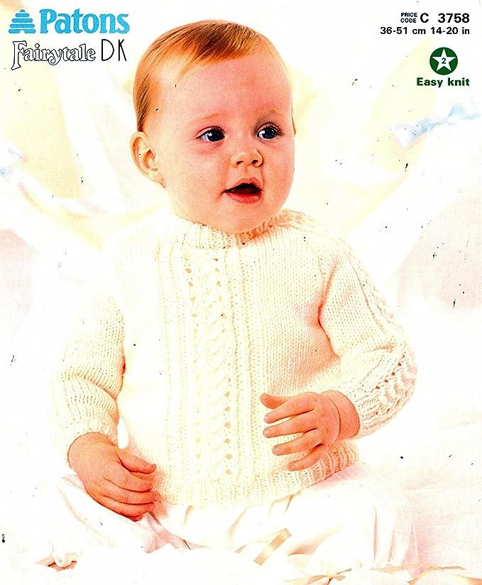 Patrón para tejer bebé Raglan Jersey prematuro 14-20 pulgada fácil ...