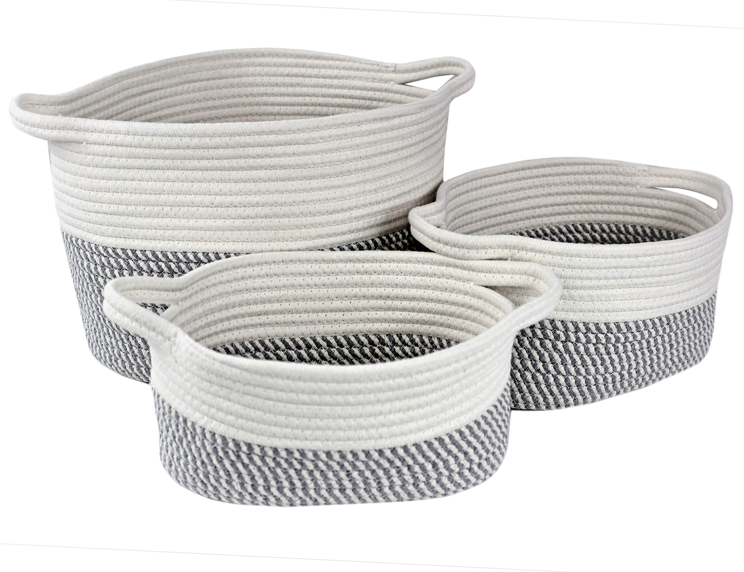 Bins & Things Cotton Rope Basket - Set of 3 Woven Basket -