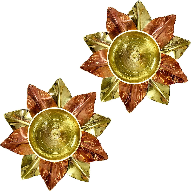 Craftsman Set of 2 Brass Copper Lotus Flower Petals Kamal Shape Metal Akand Diya for Traditional Indian Festive Diwali Deepawali Puja Pooja Dia Home Temple Decoration Oil Lamp Gift Items