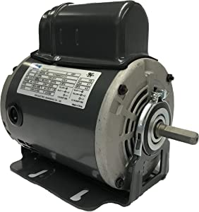 GW 1/4 HP Belt Drive Fan Motor, 115V, 48 Frame, Split Phase Start Capacitor Run Electric Motor, 1725RPM, SF 1.35, SFA 4.5A, ODP Enclosure, Resilient Base, Auto Overload Protector