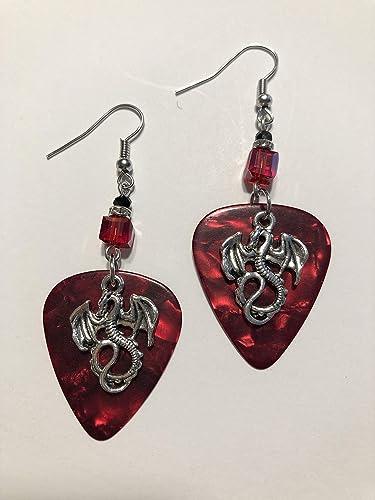Guitar pick leopard print earrings
