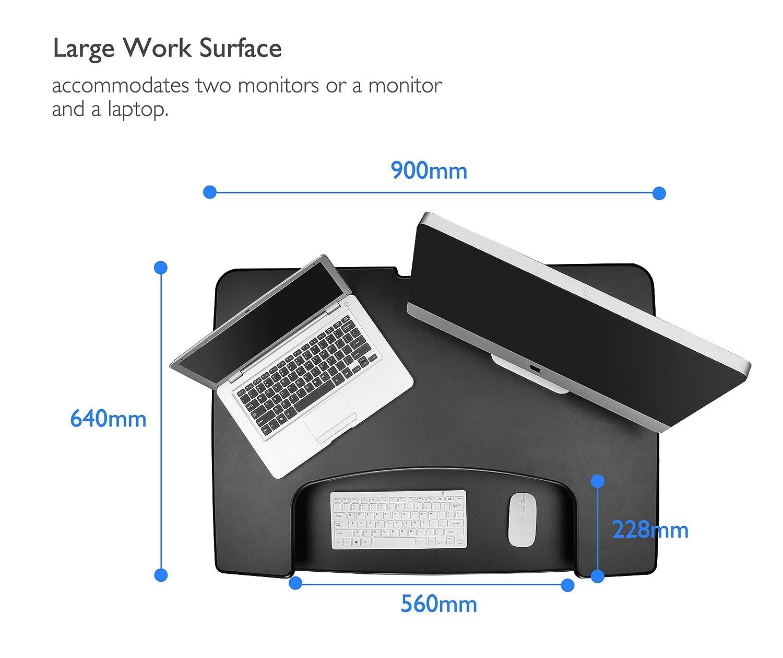 1home Ultra Slim Height Adjustable Sit Stand Desk Compact Computer Workstation Black