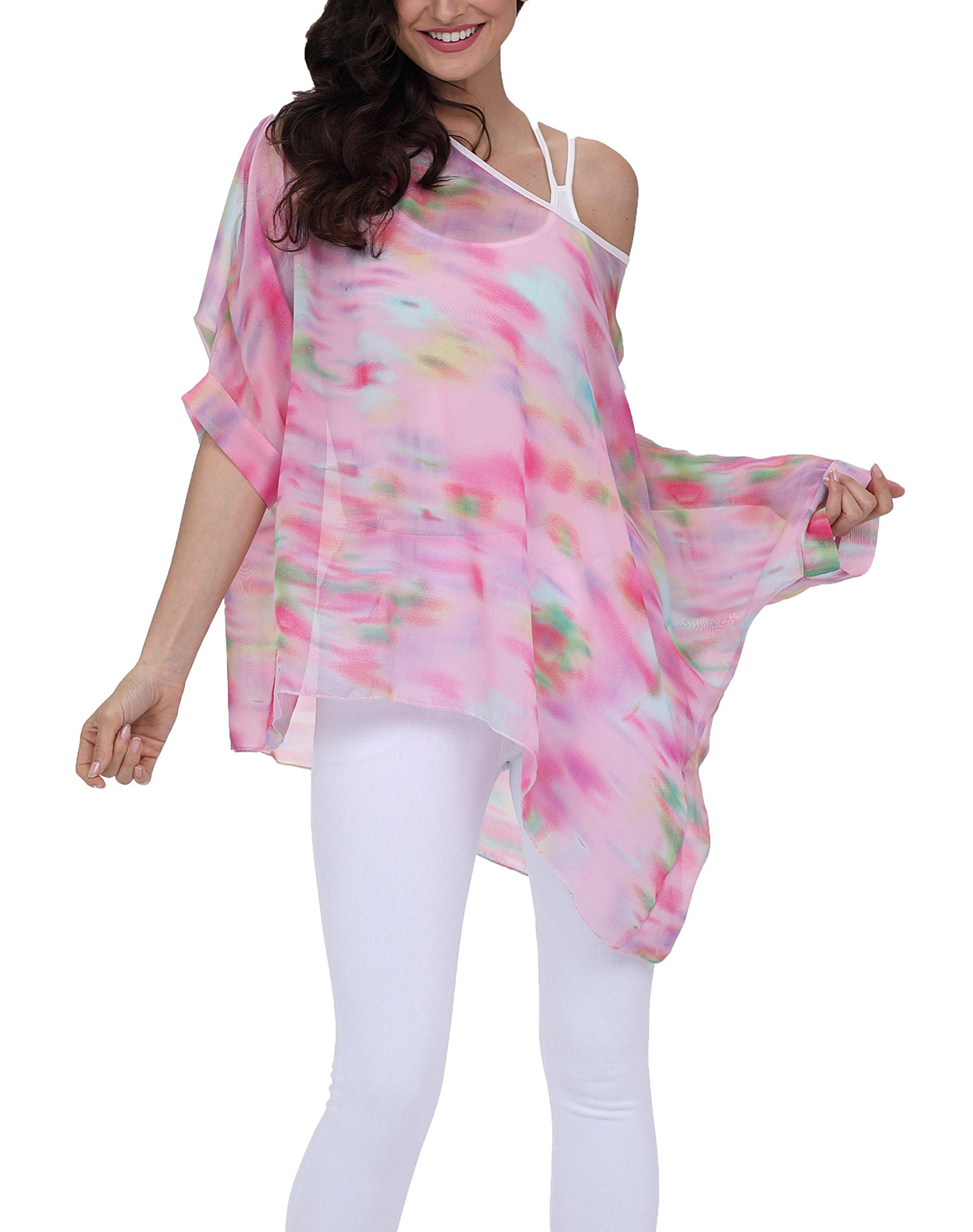 iNewbetter Womens Floral Batwing Sleeve Chiffon Beach Loose Blouse Tunic Tops PB278