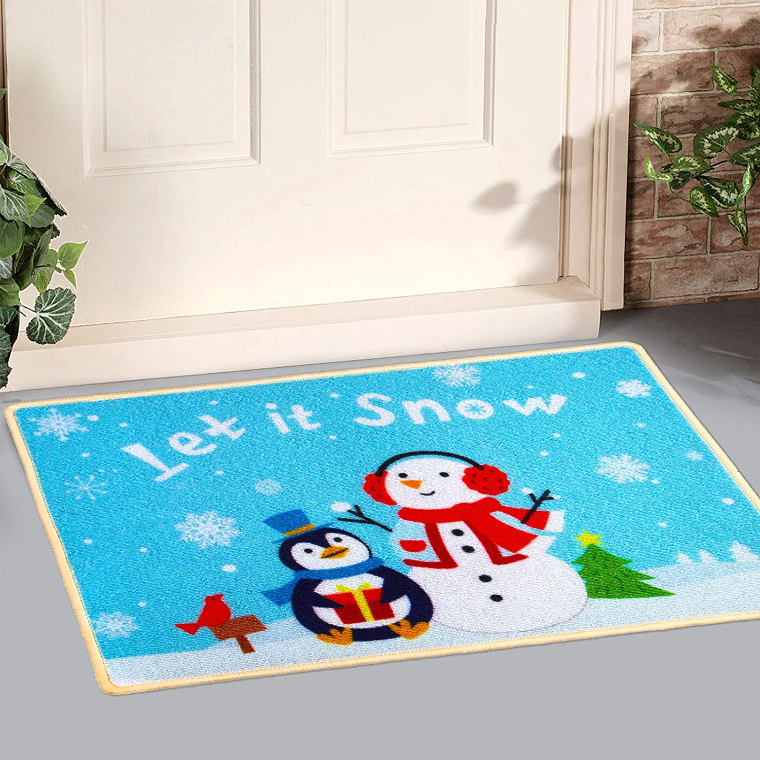 Uratot Winter Decorative Doormats Creative Snowman Holiday Welcome Floor Mats Let It Snow Anti Slip Rugs For Christmas Winter Home Decoration 20 X 28 Inches Garden Outdoor