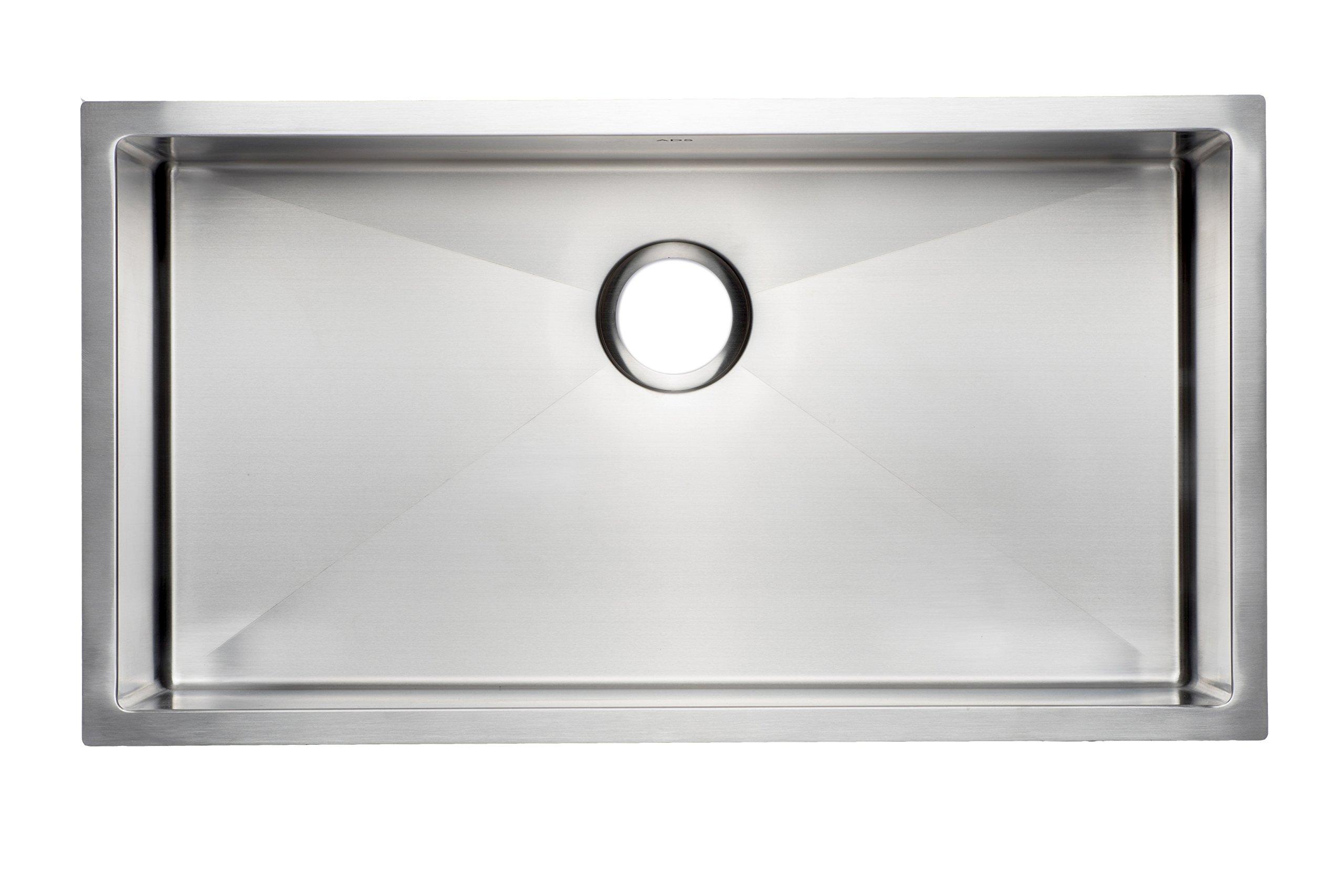 33'' Premium Quality Handmade Stainless Steel Kitchen Sink Single Bowl / Undermount 16 Gauge (36'' cabinet) by ADS