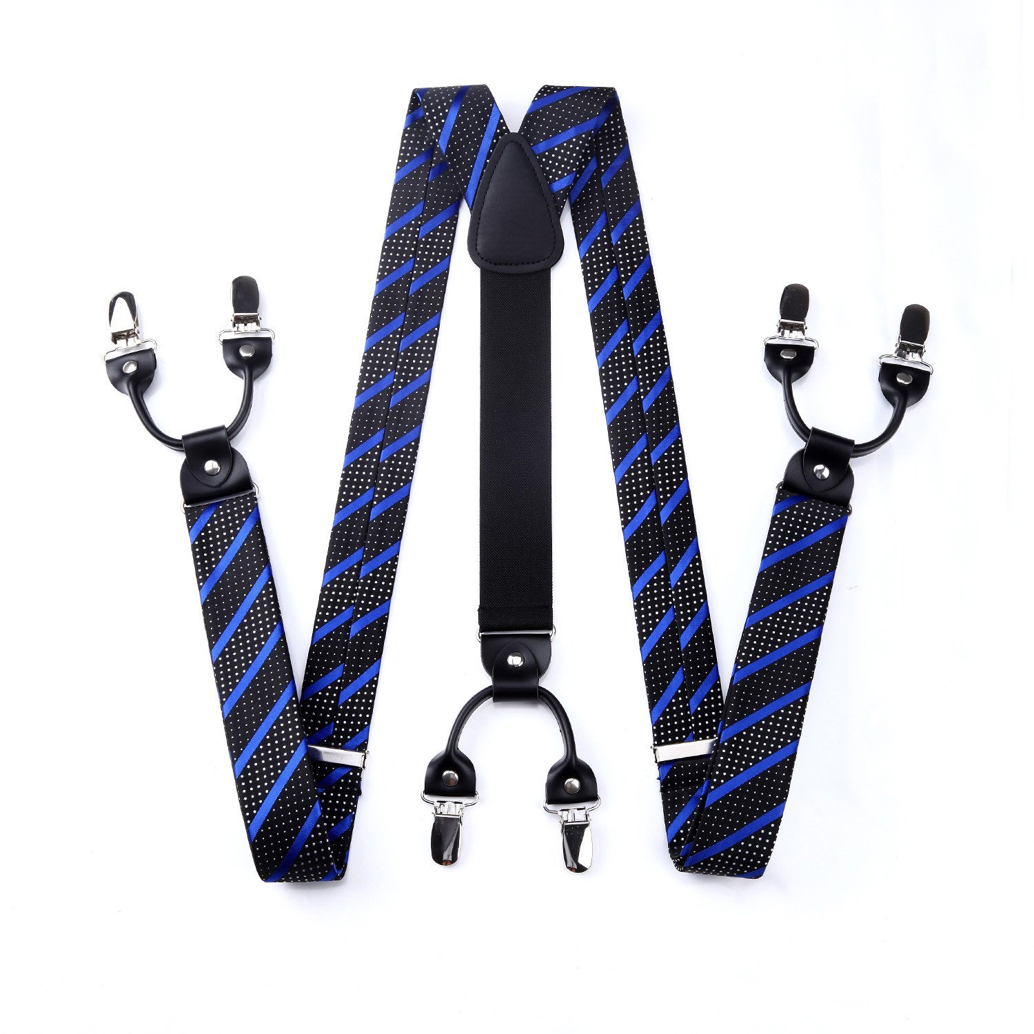 HISDERN Various Classic 6 Clips Suspenders /& Bow Tie and Pocket Square Set Y Shape Adjustable Braces Purple /& Blue One Size SC4008PS3
