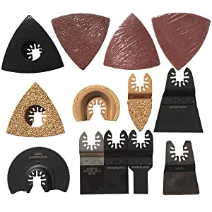 XXGO 25 Pcs Universal Oscillating Multi Tool Carbide Bi Metal Segment Scraper Wood Sanding Pads Saw Blades Accessories Kits For Cutting Scraping Sanding Grinding Tile Polishing Removing Grouting