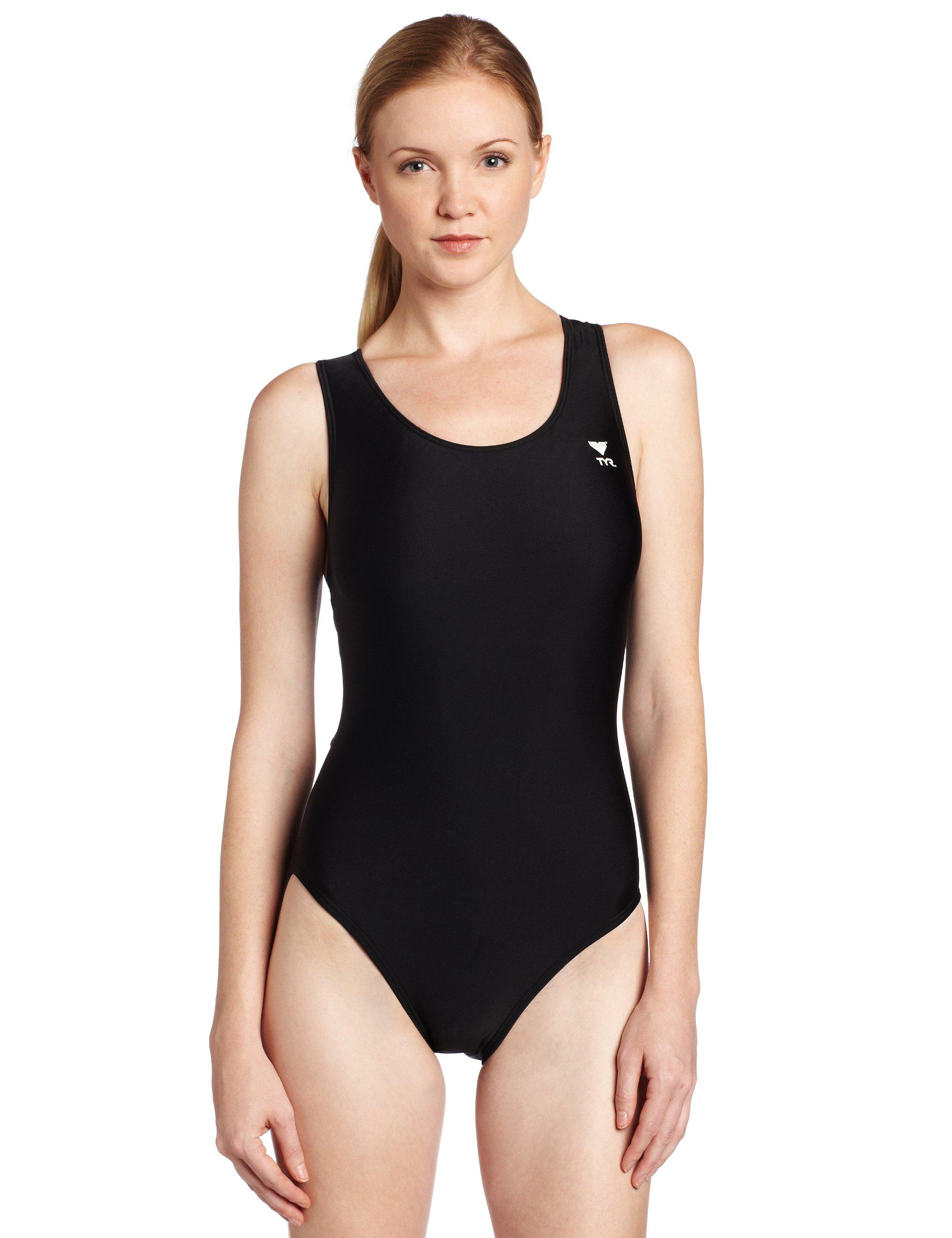 TYR Sport Women's Solid Maxback Swim Suit (Black, 34)