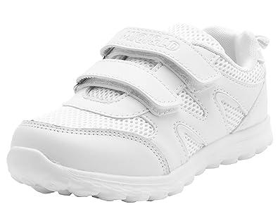 61817cb198639 LONSOEN Kid s White School Uniform Sneaker(Toddler Little Kid Big Kid) White