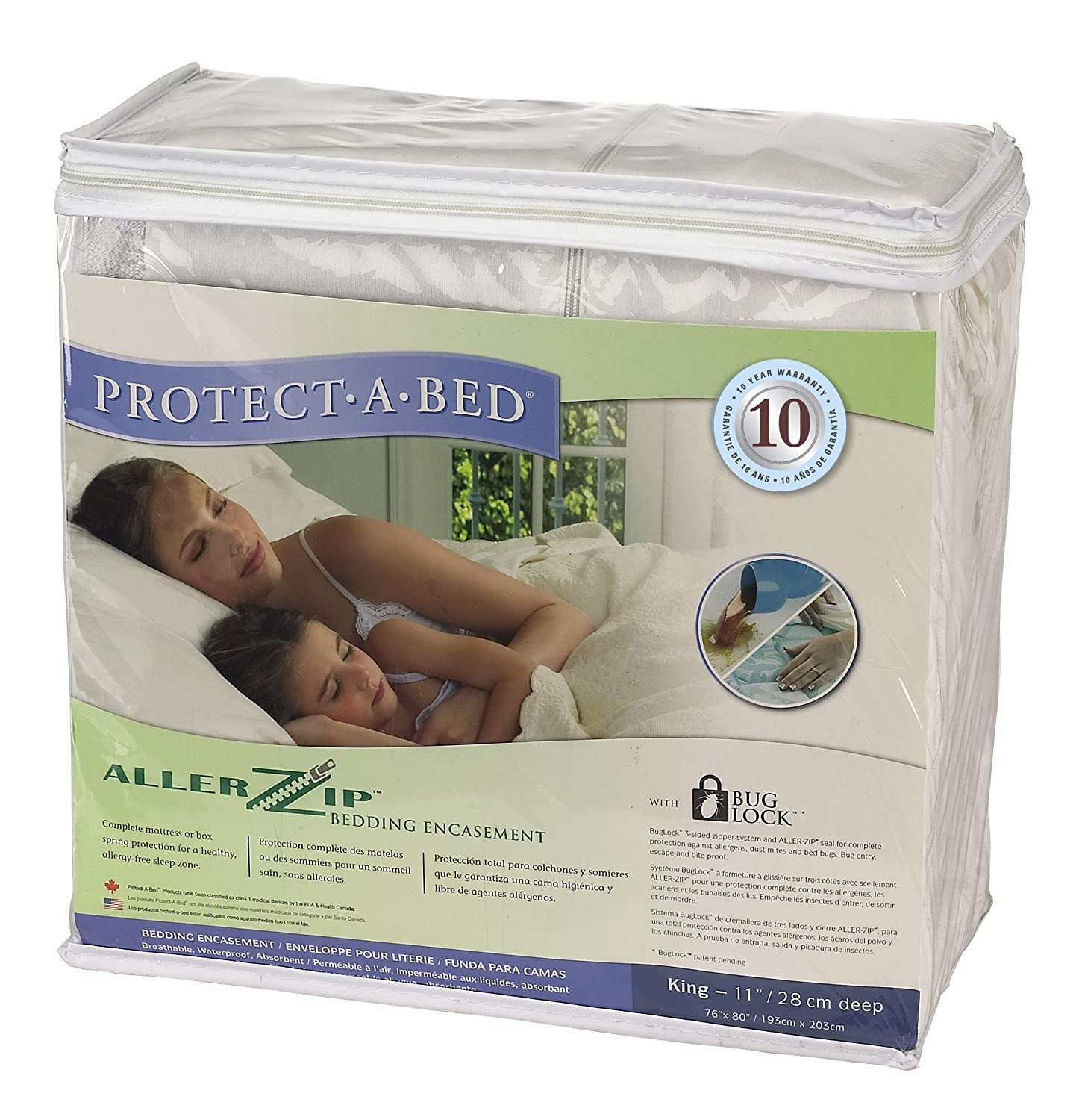 Amazon.com: Protect A Bed Allerzip Terry Bedbug/Waterproof Case Hotel King 13INZIPPERED - BOM0613: Home & Kitchen