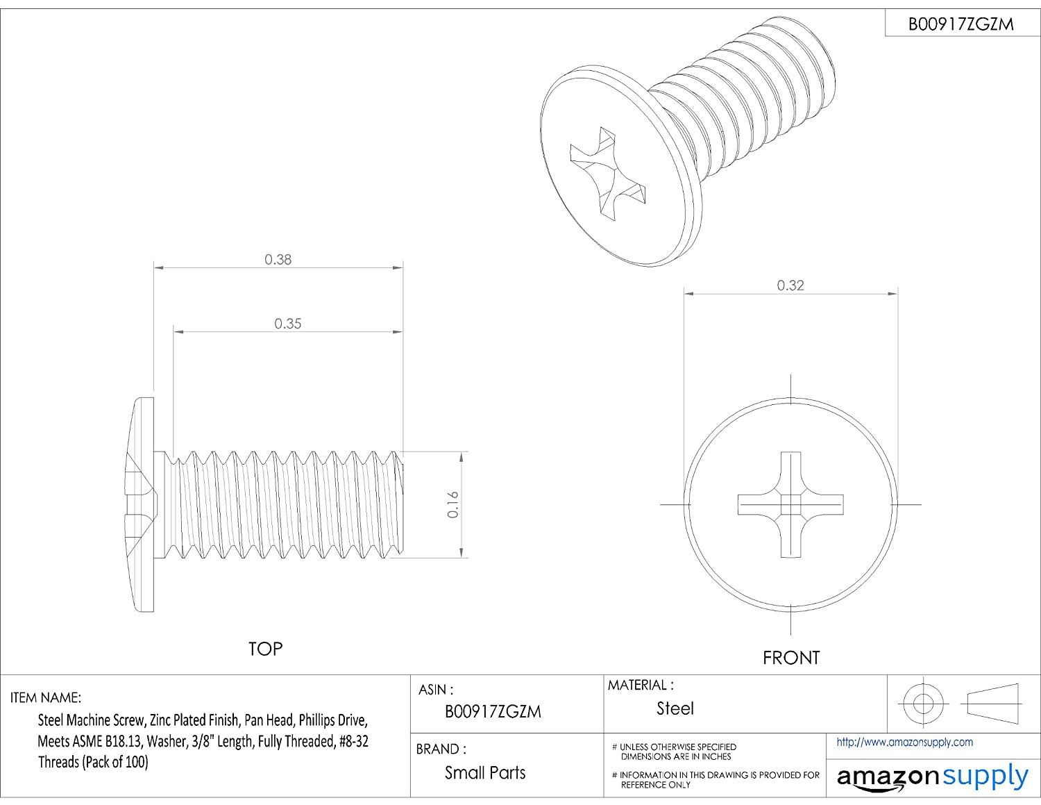 #8-32 UNC Threads 3//8 Length Small Parts Pack of 100 3//8 Length Zinc Plated Finish Steel Machine Screw Fully Threaded Internal-Tooth Lock Washer Meets ASME B18.13 Pan Head Phillips Drive