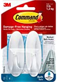 Command Designer Bath Hooks, Medium, White, 2-Hooks with Water-Resistant Strips (17081B-ES), Organize your dorm