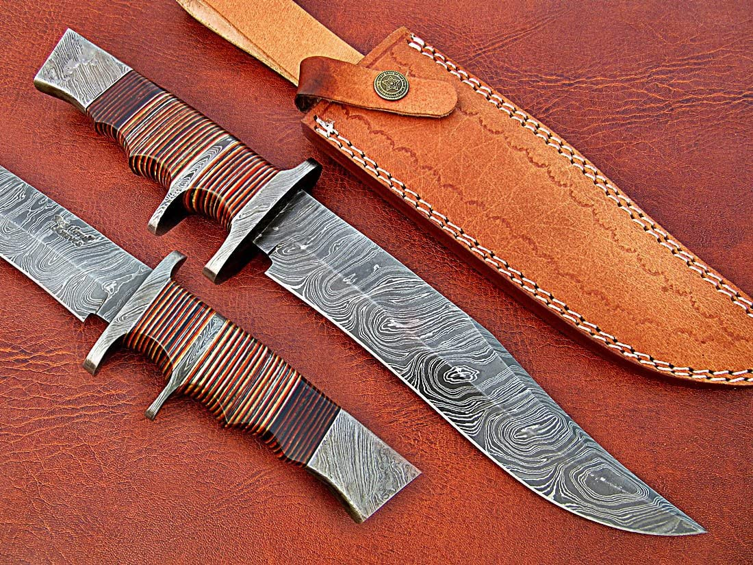Poshland REG-HK-404, Custom Handmade 13.00 Inches Damascus Steel Bowie Knife Beautiful Three Tone Micarta Handle with Double Damascus Steel Guard
