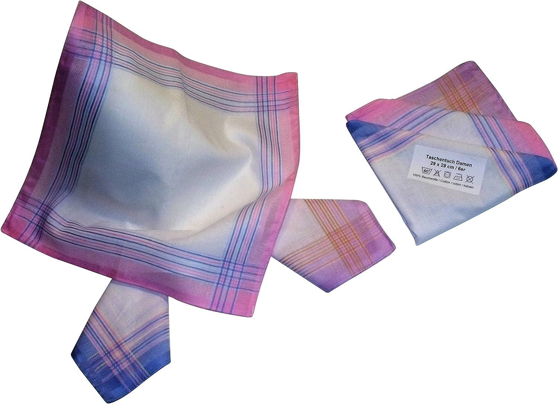 30 cm x 30 cm 6 Damen Stoff-Taschent/ücher in unterschiedlichen w/ählbaren Designs