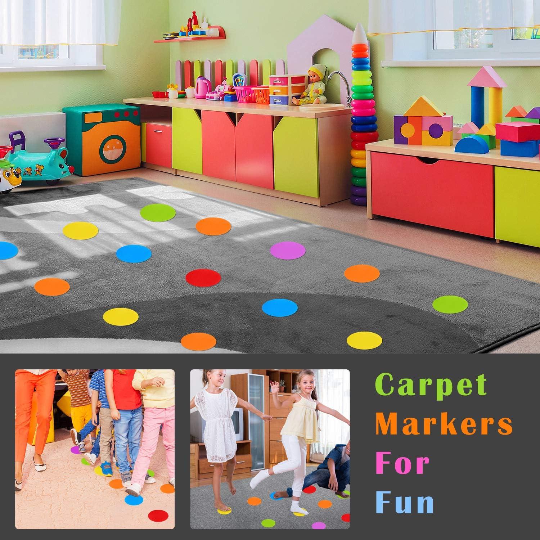 IKAYAS 72 Pcs Carpet Sit Spot Sitting Spot Carpet Spots Number 1-36 and 36 Pcs Carpet Circles Dots Sitting Spots Circle Spots for Kids Classroom 6 Colors