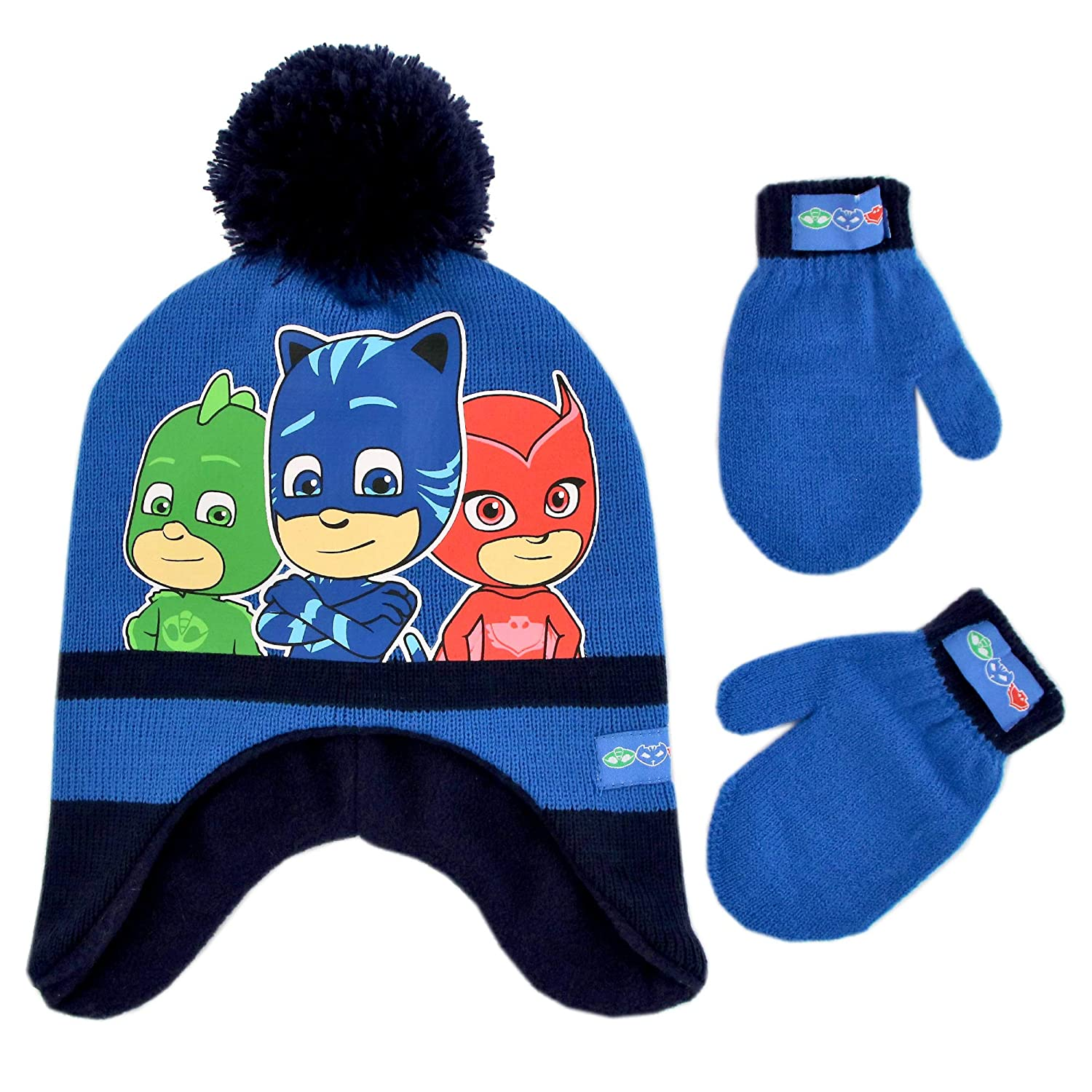 PJ Masks Boys' Toddler Assorted Characters Hat and Mittens Cold Weather Set, Blue/Black, Age 2-4 PJF85222AZ