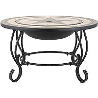 Harima Alaz Table à café en mosaïque et braséro avec grille de barbecue de jardin de jardin chromée et grillage contre les étincelles Housse contre la pluie Brûleur à bois Usage extérieur Ø 76 cm - noir