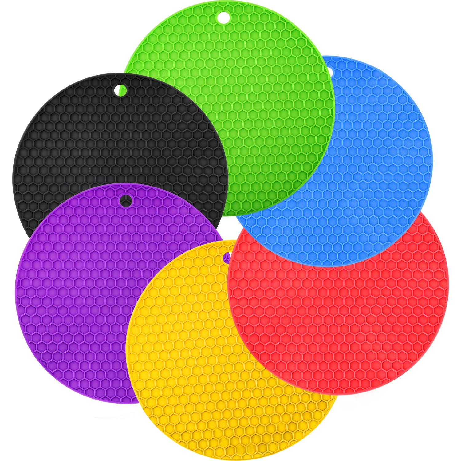 Boao 6 Pieces Silicone Trivets Mat, Hot Pad Mat, Round Pot Holder, Spoon Rests and Jar Gripper Pads, 7 x 7 Inches
