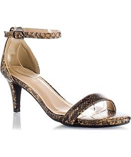 Amazon.com | Low Heel Ankle Strap Sandals | Heeled Sandals