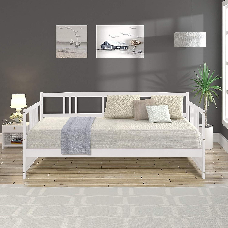 Amazon Com Harper Bright Designs Wood Daybed Frame White Twin