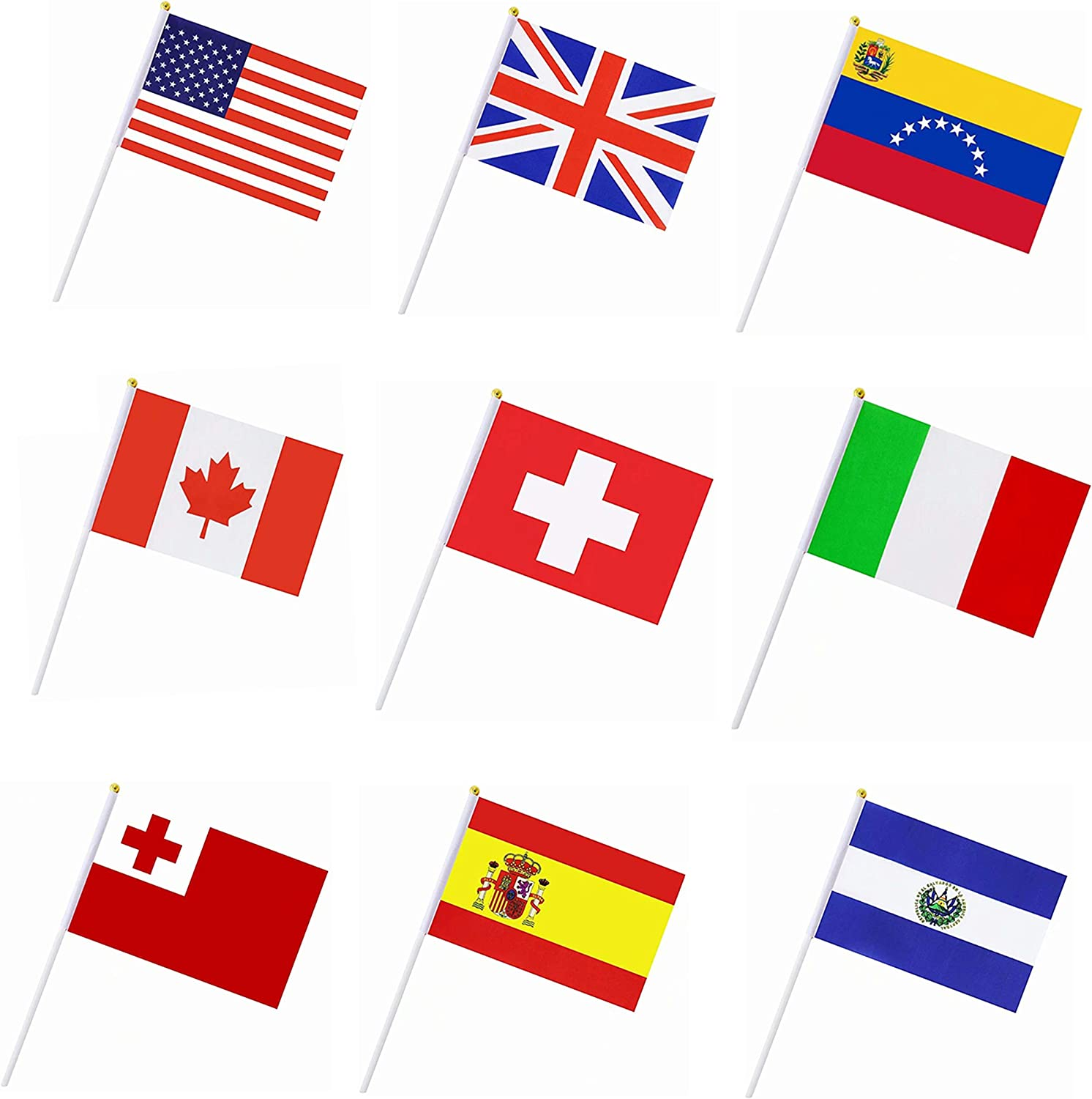50 Countries Hand Held Stick Flags Banners,Small Mini International World Country Party Decorations for Grand Opening,Olympics,Sports Clubs,Bar,Festival Events