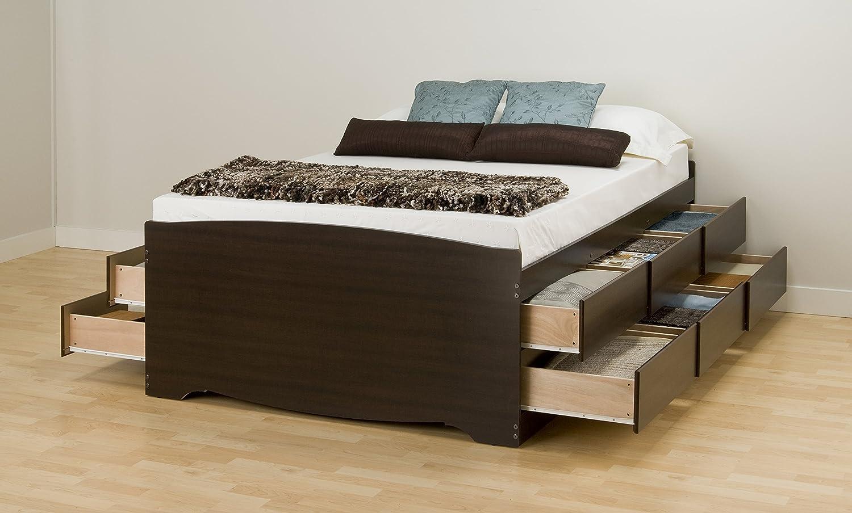 Under bed storage in addition platform bed with storage besides white - Amazon Com Espresso Tall Queen Captain S Platform Storage Bed With 12 Drawers Kitchen Dining