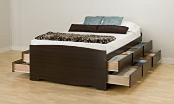 espresso tall queen captains platform storage bed with 12 drawers - Queen Bed Frames With Drawers