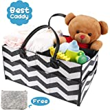 Emitter Baby Diaper Caddy, Portable Diaper Caddy Organizer for Changing Table Nursery Storage Bin with PU Leather Handle Newborn Basket for Boys Girls Travel Car Organizer for Wipes Toys