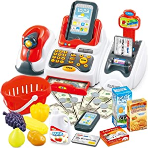 Cash Register Toys for Kids, Toy Grocery Store with Checkout Scanner,Fruit Card Reader, Credit Card Machine, Play Food & Money Set, Educational Toys for Boys & Girls, Gifts for Toddlers Preschoolers