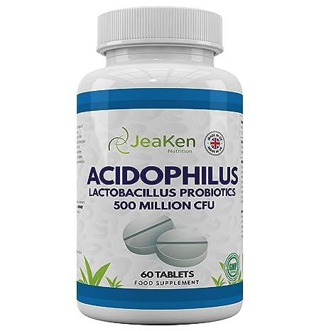 ACIDOPHILUS LACTOBACILLUS Por JeaKen - 60 tabletas Acidophilus Lactobacillus Probiotics - Alta resistencia 500 Millones de